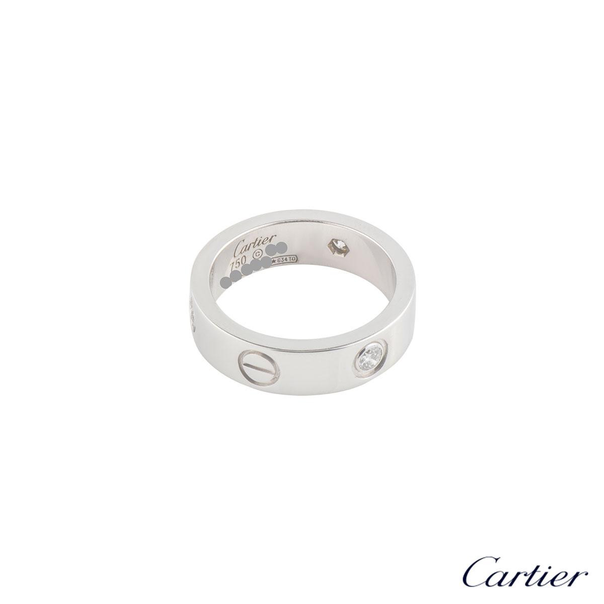 CartierWhite Gold Half Diamond Love Ring Size 53B4032553